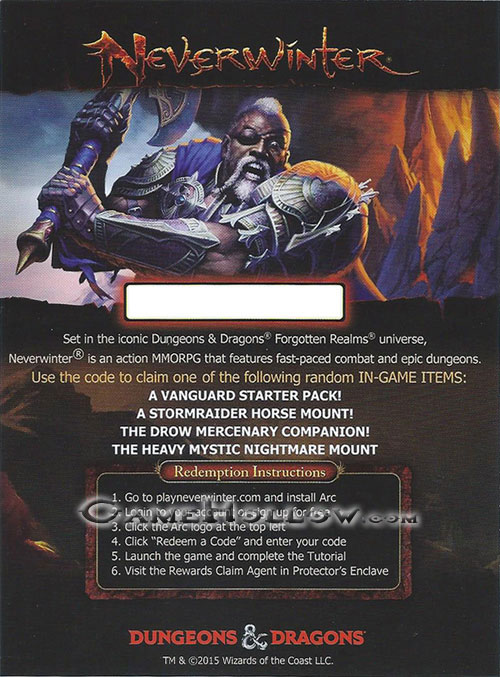 Elemental Evil Redeemable Code - Neverwinter In-Game Items